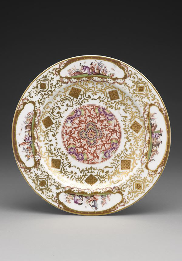 Plate with iron-red medallion, gold lace-work borders and chinoiserie scenes (so-called 'salami plate') | MasterArt