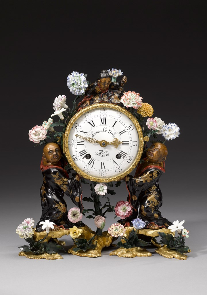 Porcelain-mounted Vernis Martin mantel clock with soft-paste porcelain flowers