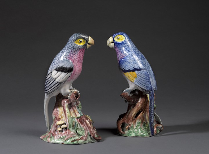 Two faience parrots
