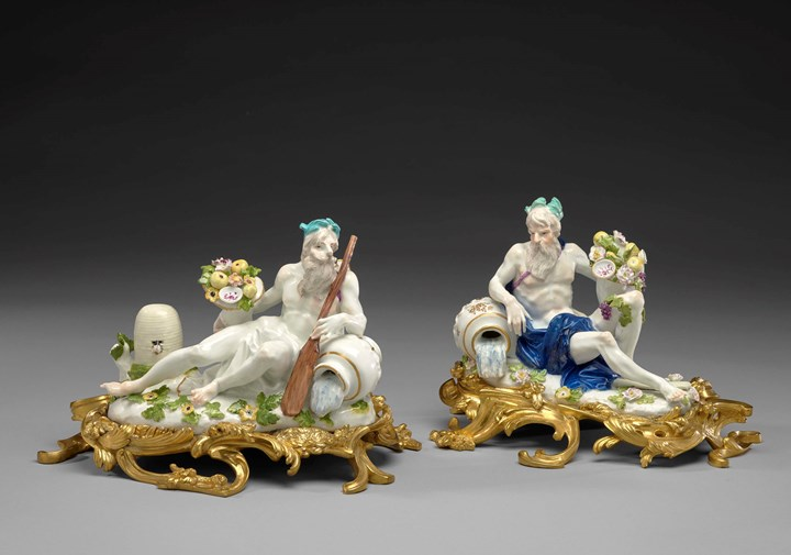 Two ormolu mounted figures of reclined river gods