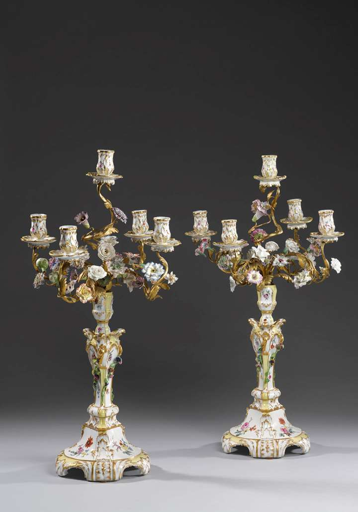 Very rare pair five-armed candelabra