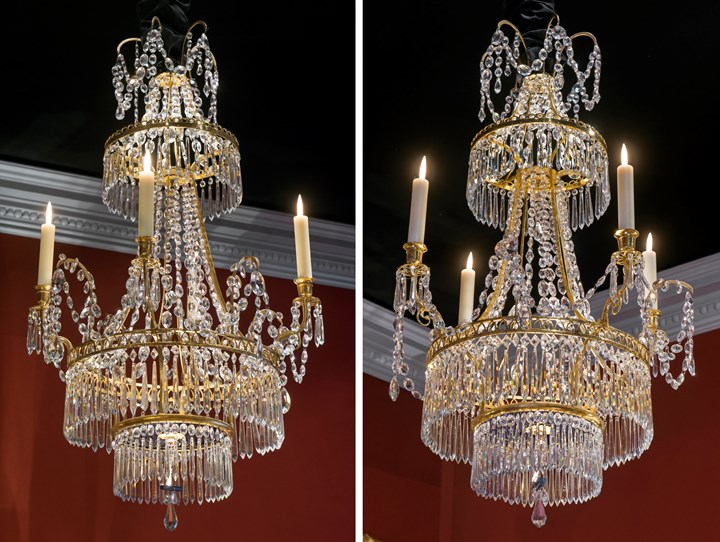 A pair of neoclassical crystal, brass and bronze chandeliers