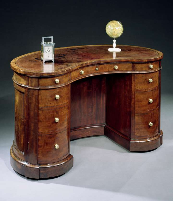 A VICTORIAN MAHOGANY KIDNEY SHAPED DESK