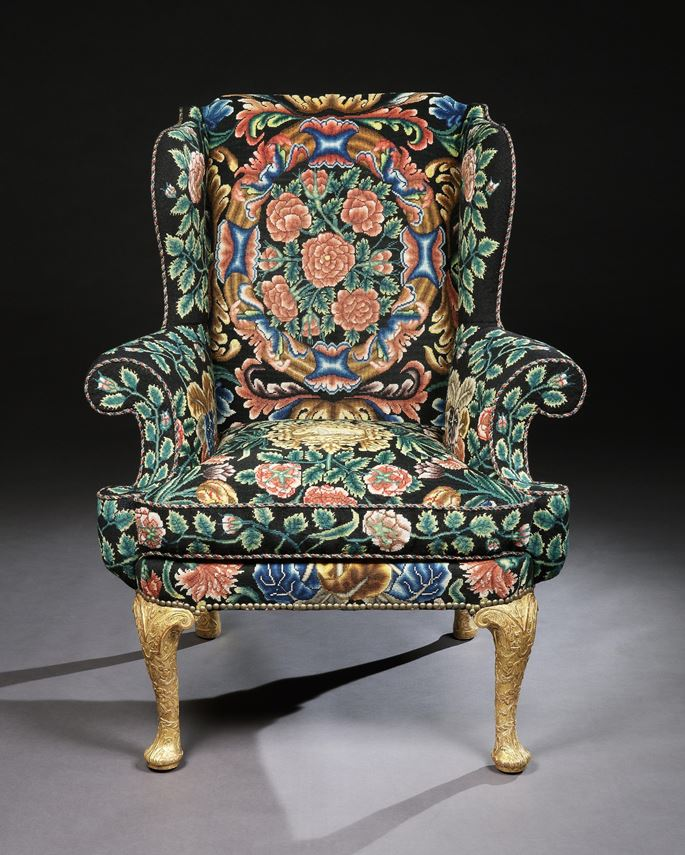 A GEORGE I GESSO AND NEEDLEWORK WING CHAIR | MasterArt