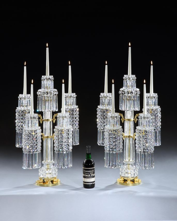 John Blades - A PAIR OF REGENCY ORMOLU MOUNTED CUT GLASS CANDELABRA | MasterArt