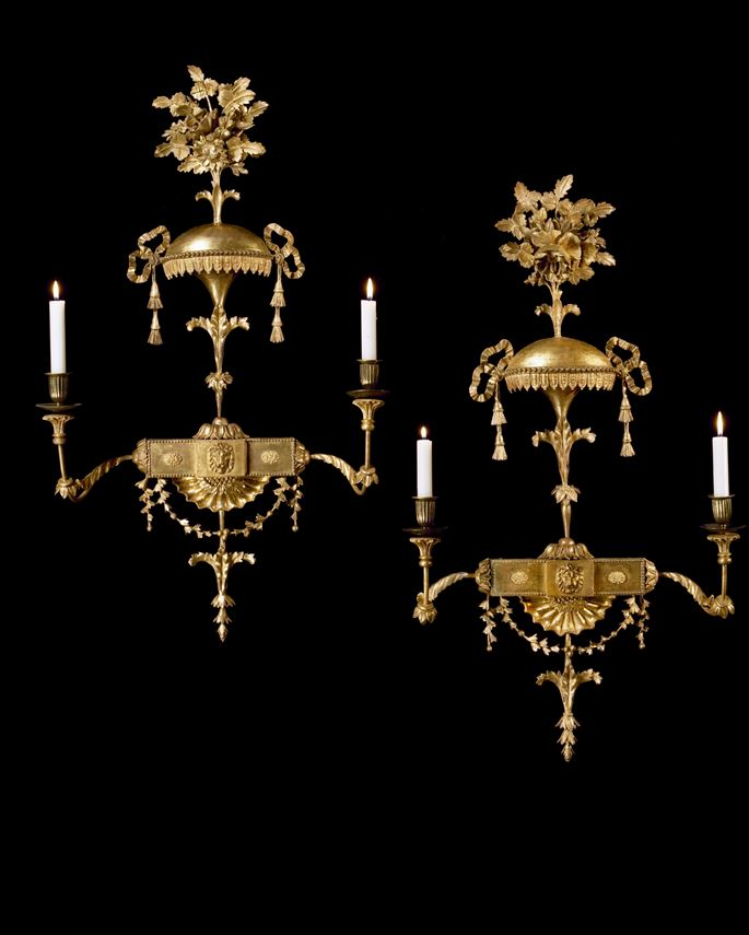 A PAIR OF GEORGE III GILTWOOD WALL LIGHTS  | MasterArt