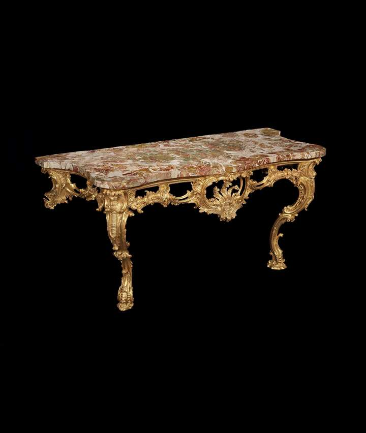 A LARGE GEORGE II GILTWOOD CONSOLE TABLE