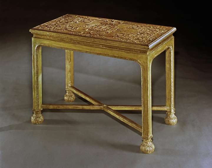 A GEORGE I GESSO SIDE TABLE