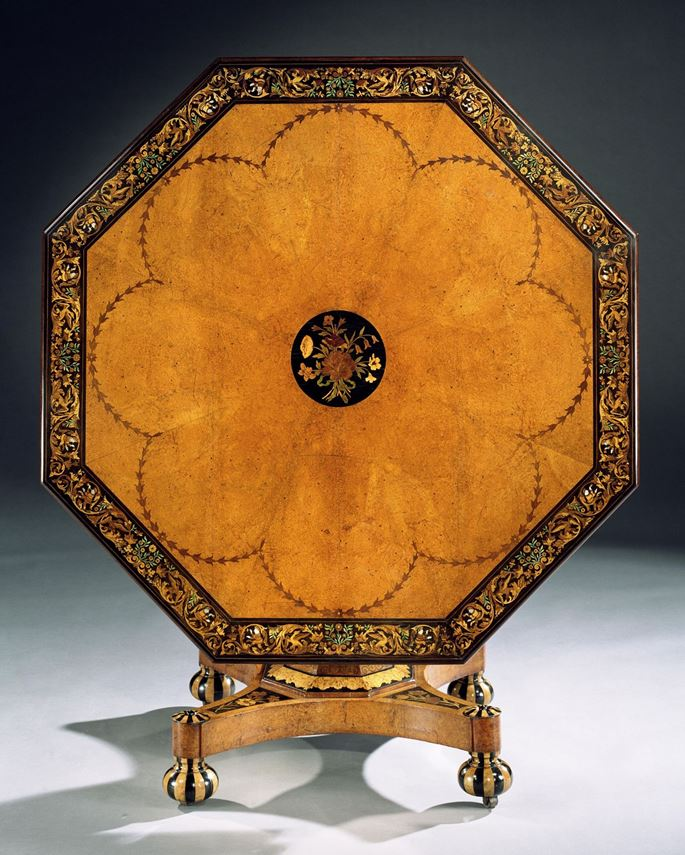 A VICTORIAN INLAID AMBOYNA CENTRE TABLE | MasterArt