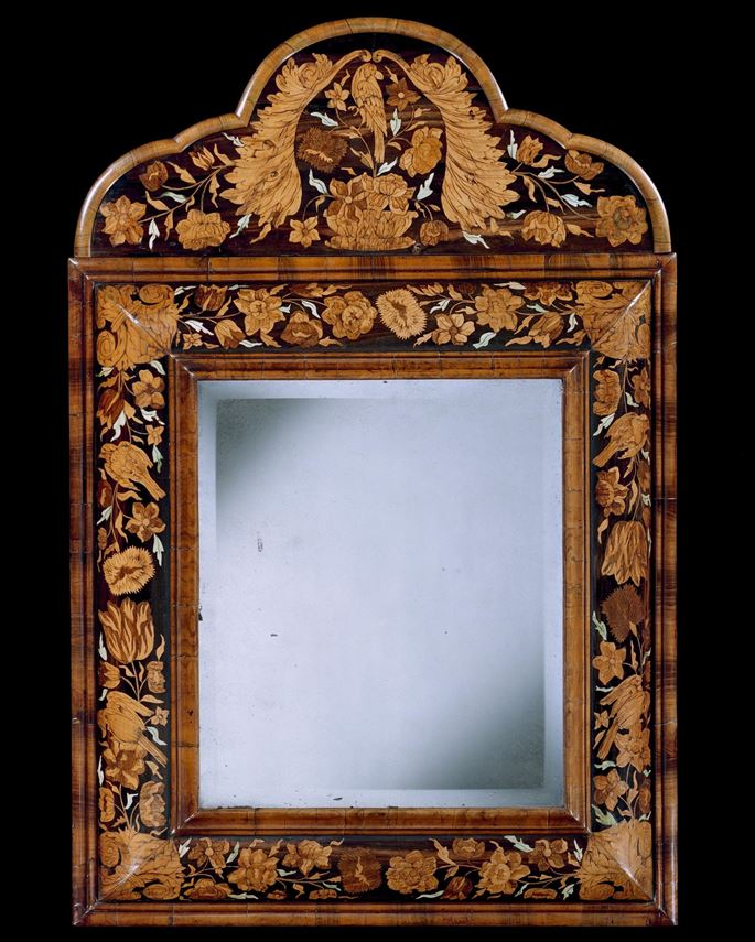 A WILLIAM AND MARY MARQUETRY CUSHION MIRROR | MasterArt
