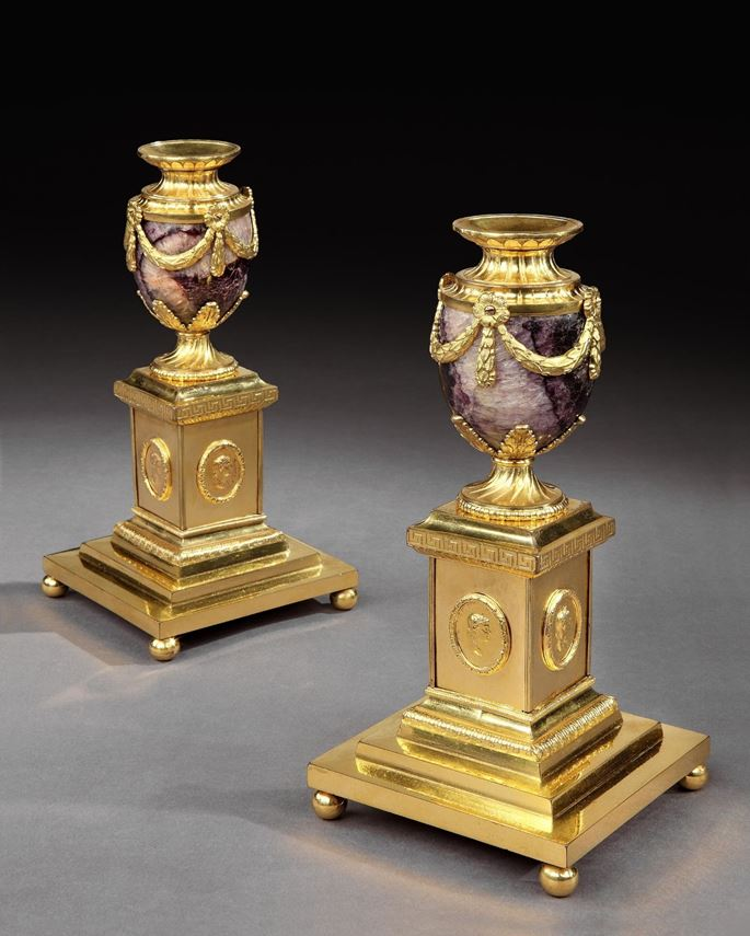 Matthew Boulton - A PAIR OF GEORGE III ORMOLU MOUNTED 'NEW CAVERN VEIN' BLUE JOHN CLEOPATRA CANDLE VASES | MasterArt
