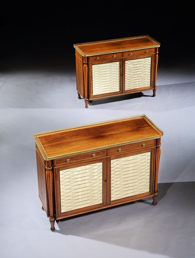 A PAIR OF GEORGE III BRASS MOUNTED ROSEWOOD SIDE CABINETS   MasterArt