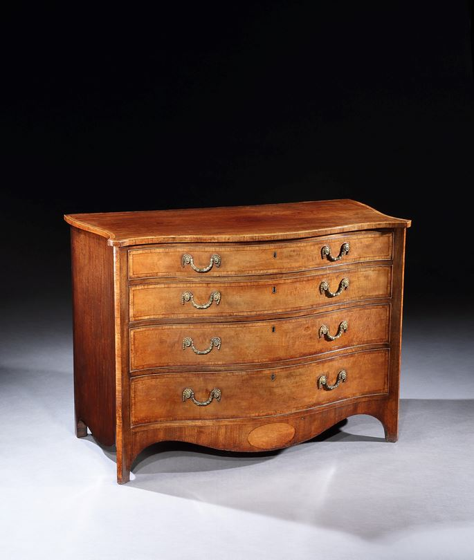 A GEORGE III SATINWOOD AND MAHOGANY CHEST OF DRAWERS | MasterArt