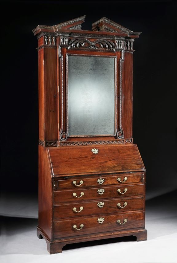 William Hallett - A GEORGE II MAHOGANY BUREAU CABINET DESIGNED BY WILLIAM KENT AND ATTRIBUTED TO WILLIAM HALLETT | MasterArt