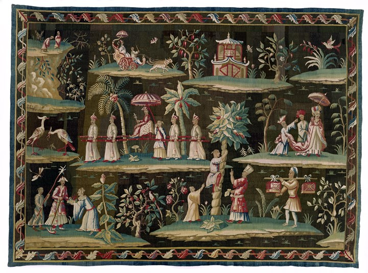 A GEORGE I CHINOISERIE SOHO TAPESTRY
