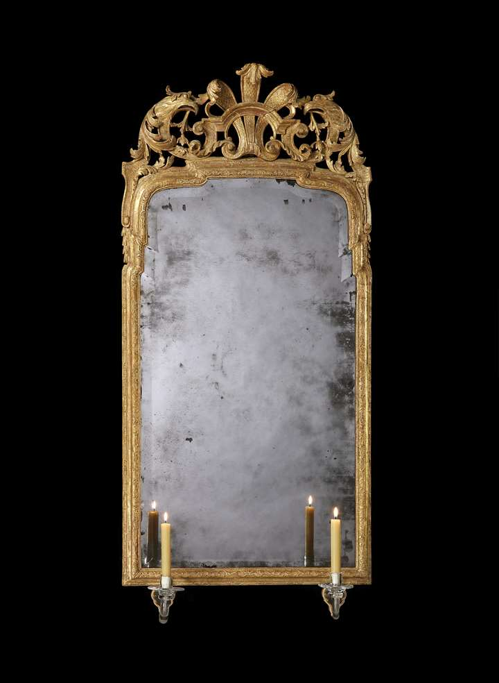 A GEORGE I GILTWOOD AND GESSO MIRROR