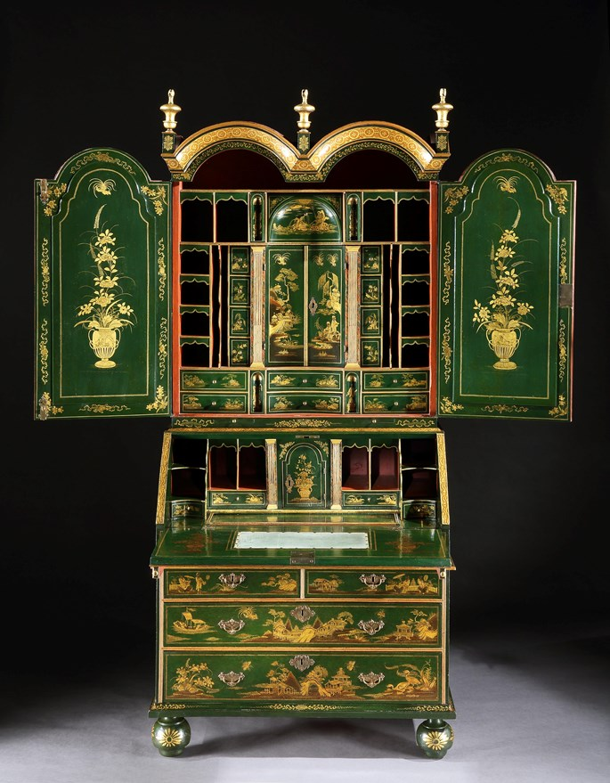 John Belchier - A GEORGE I GREEN JAPANNED BUREAU CABINET ALMOST CERTAINLY BY JOHN BELCHIER | MasterArt