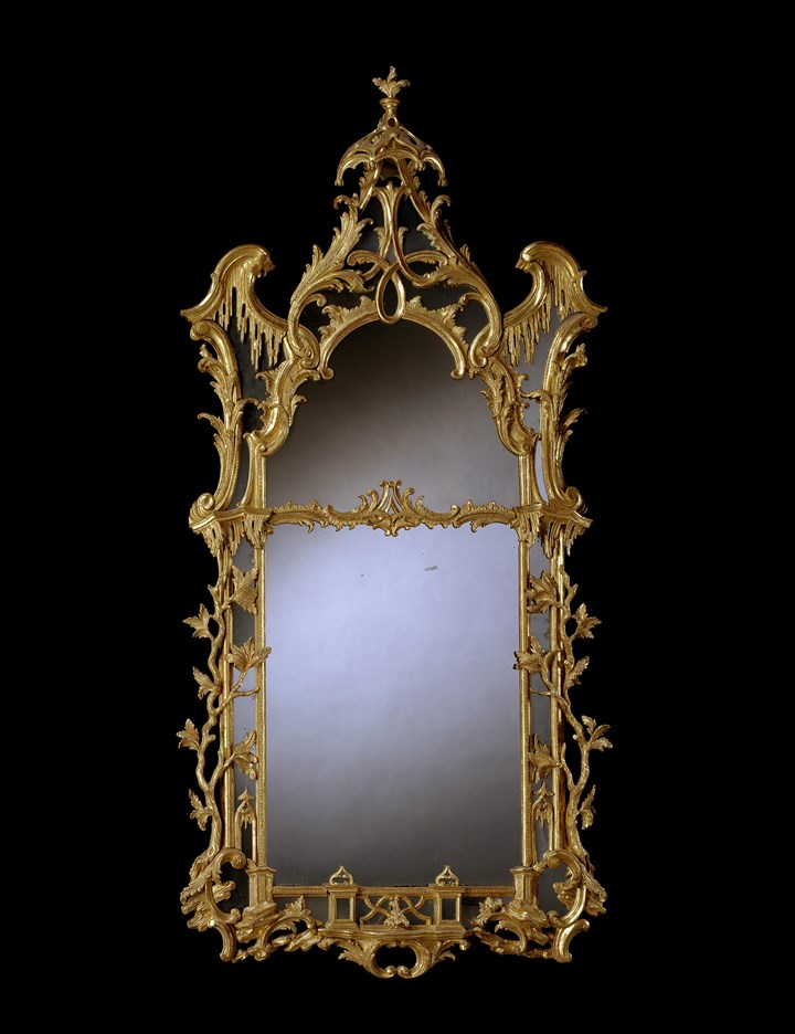 A GEORGE II GILTWOOD PIER MIRROR ATTRIBUTED TO MATTHIAS LOCK