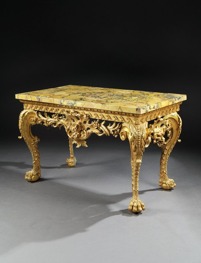 A GEORGE II GILTWOOD SIDE TABLE IN THE MANNER OF MATTHIAS LOCK | MasterArt