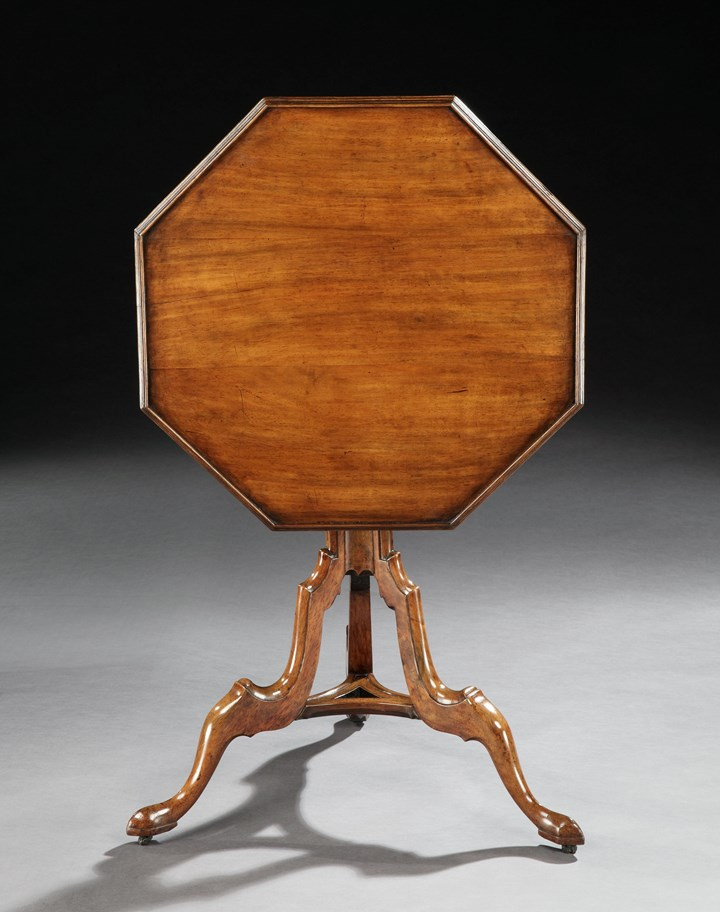 A GEORGE II OCTAGONAL PADOUK TRIPOD TABLE