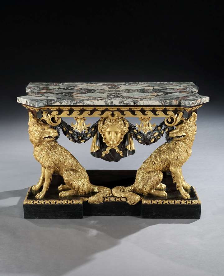 A George II Parcel Gilt Side Table Attributed