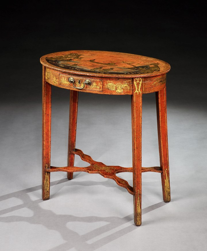 A GEORGE II RED JAPANNED OCCASIONAL TABLE