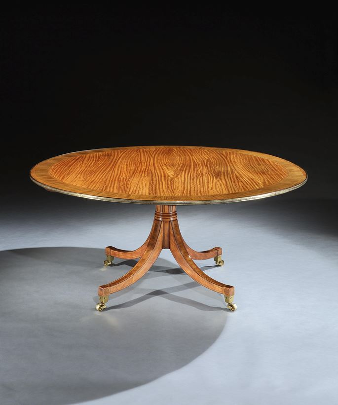A GEORGE III BRASS MOUNTED SATINWOOD CIRCULAR BREAKFAST TABLE  | MasterArt