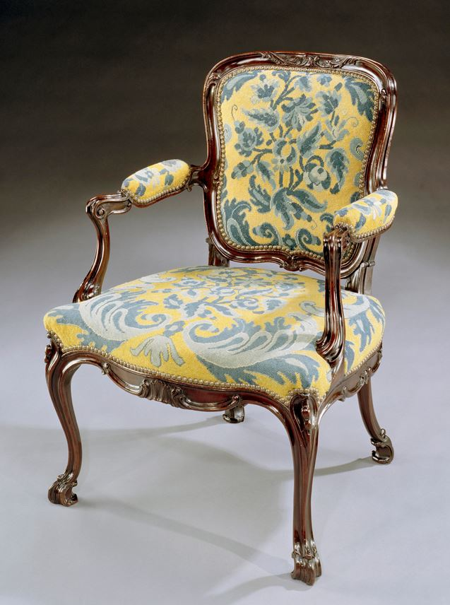A GEORGE III CARVED MAHOGANY NEEDLEWORK ARMCHAIR | MasterArt