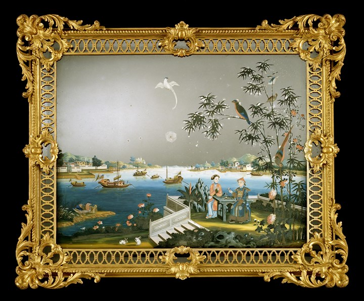 A GEORGE III CHINESE EXPORT MIRROR PAINTING