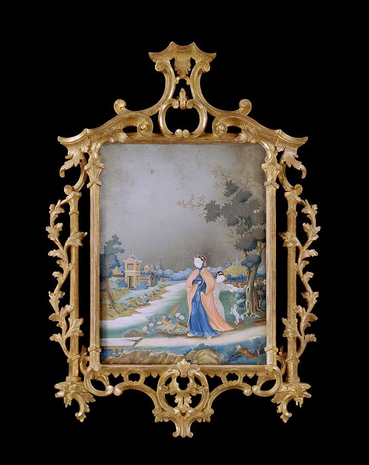 A GEORGE III CHINESE EXPORT REVERSE MIRROR PAINTING