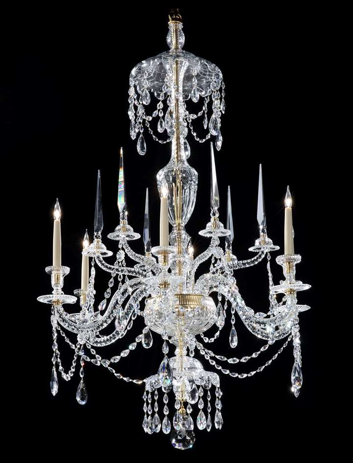 A GEORGE III CUT GLASS SIX LIGHT CHANDELIER