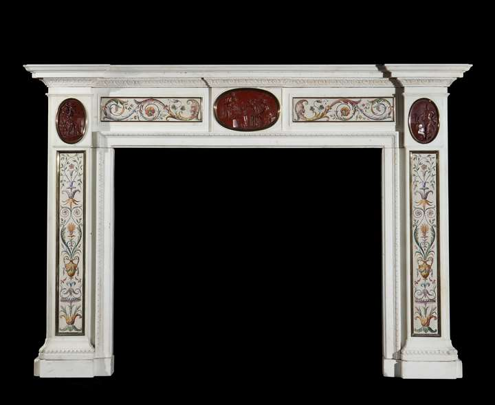 A GEORGE III ITALIAN EXPORT WHITE MARBLE CHIMNEYPIECE ATTRIBUTED TO LORENZO CARDELLI AND CESARE AGUATTI