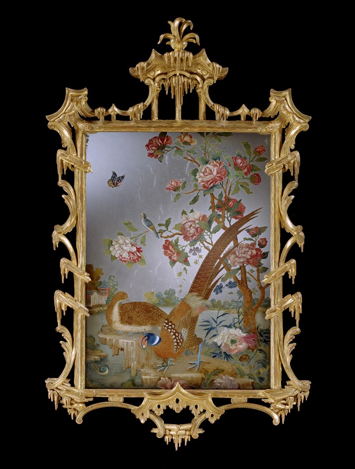 A GEORGE III PERIOD CHINESE EXPORT MIRROR PAINTING