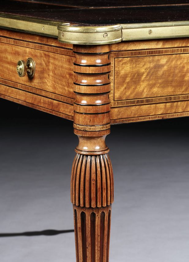 A GEORGE III SATINWOOD BRASS MOUNTED WRITING TABLE | MasterArt