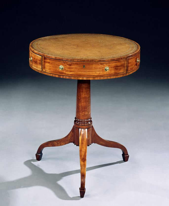 A GEORGE III SATINWOOD DRUM TABLE CROSS BANDED IN TULIPWOOD | MasterArt