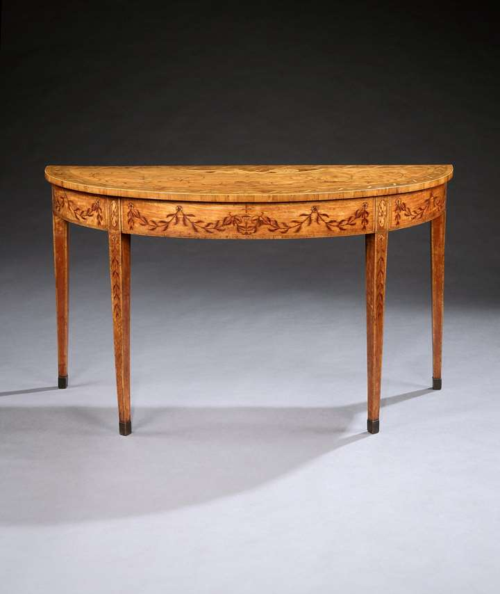 A GEORGE III SATINWOOD MARQUETRY DEMI-LUNE SIDE TABLE ATTRIBUTED TO CHARLES ELLIOTT