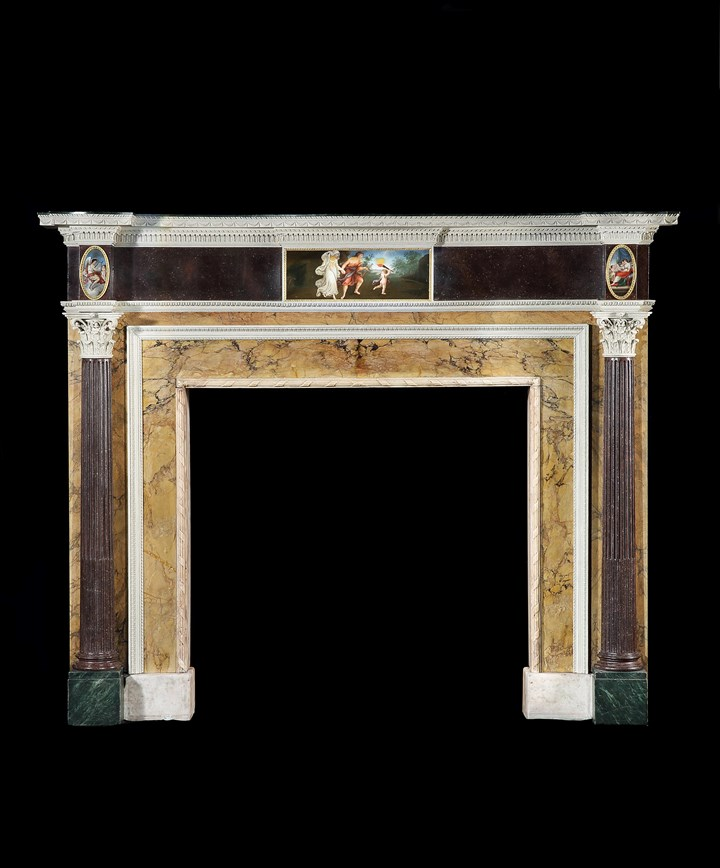A GEORGE III SIENNA AND STATUARY MARBLE AND FAUX MARBLE CHIMNEYPIECE