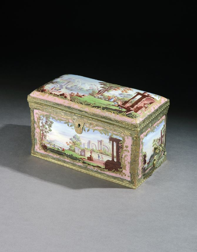 A GEORGE III SOUTH STAFFORDSHIRE ENAMEL TEA CHEST | MasterArt