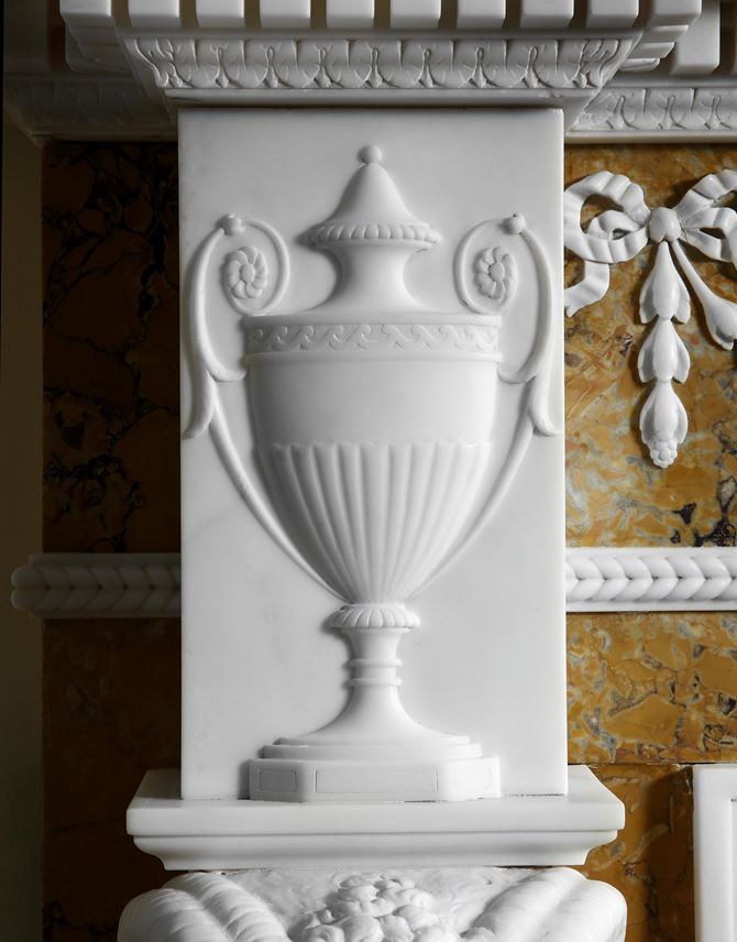 A GEORGE III STATUARY AND SIENNA MARBLE CHIMNEY PIECE BY JOSEPH WILTON AND DESIGNED BY JOSEPH BONOMI | MasterArt