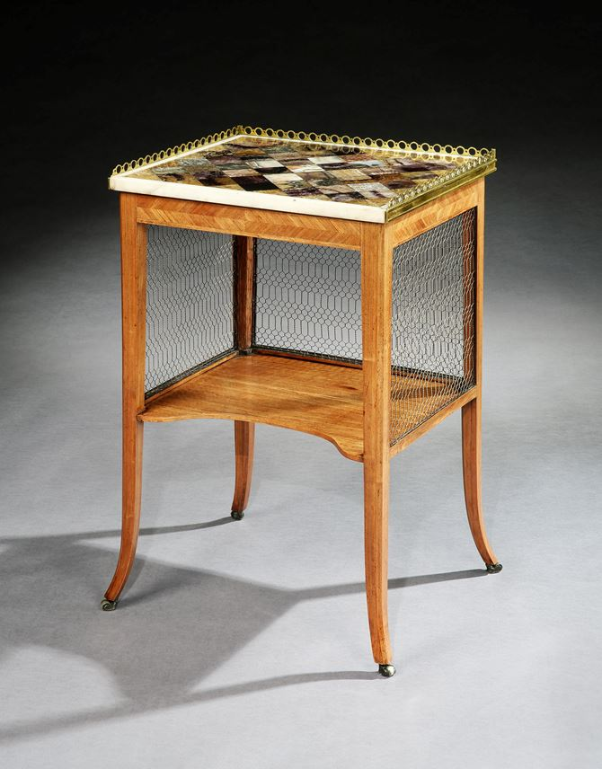 A GEORGE III TULIPWOOD SIDE TABLE WITH A BRASS MOUNTED BLUE JOHN TOP   | MasterArt