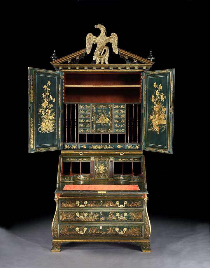 A highly important George II dark green japanned bureau cabinet