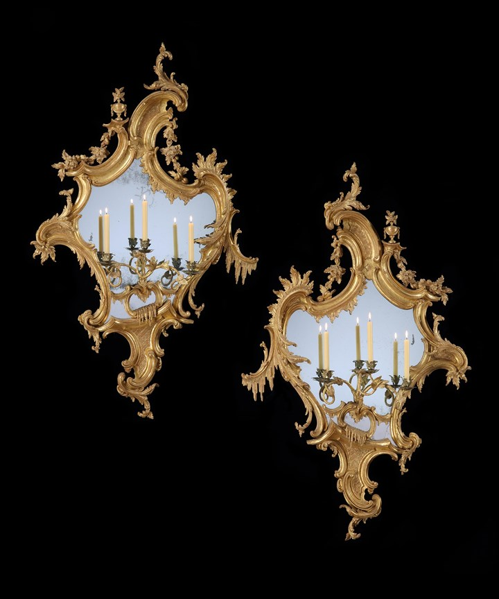 A HUGE PAIR OF GEORGE II CARVED GILTWOOD GIRANDOLES