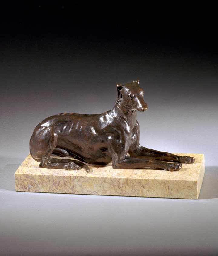 A LOUIS XVIII BRONZE GREYHOUND