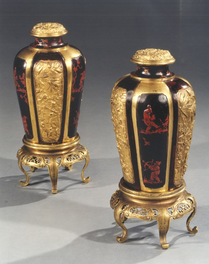 A PAIR OF CHINESE EXPORT GILT BRONZE AND LACQUERED LOBED VASES