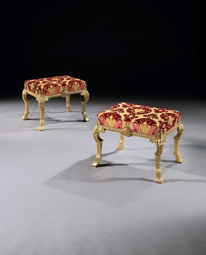 A PAIR OF GEORGE I GESSO STOOLS ATTRIBUTED TO JAMES MOORE  | MasterArt