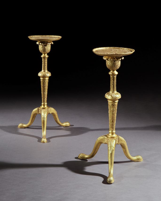 A PAIR OF GEORGE I GILT GESSO TORCHÈRES IN THE MANNER OF JAMES MOORE THE ELDER   | MasterArt