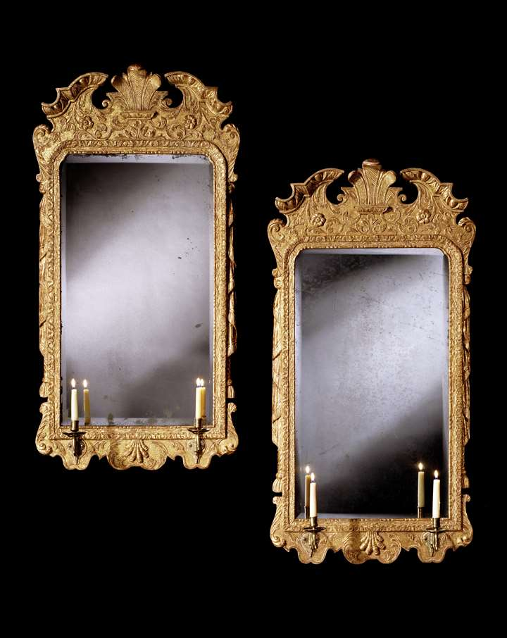 A PAIR OF GEORGE II GESSO GIRANDOLES