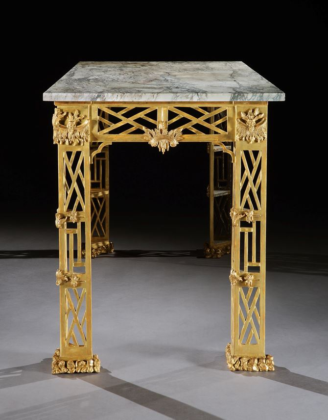 A PAIR OF GEORGE II GILTWOOD SIDE TABLES TO A DESIGN BY THOMAS CHIPPENDALE | MasterArt