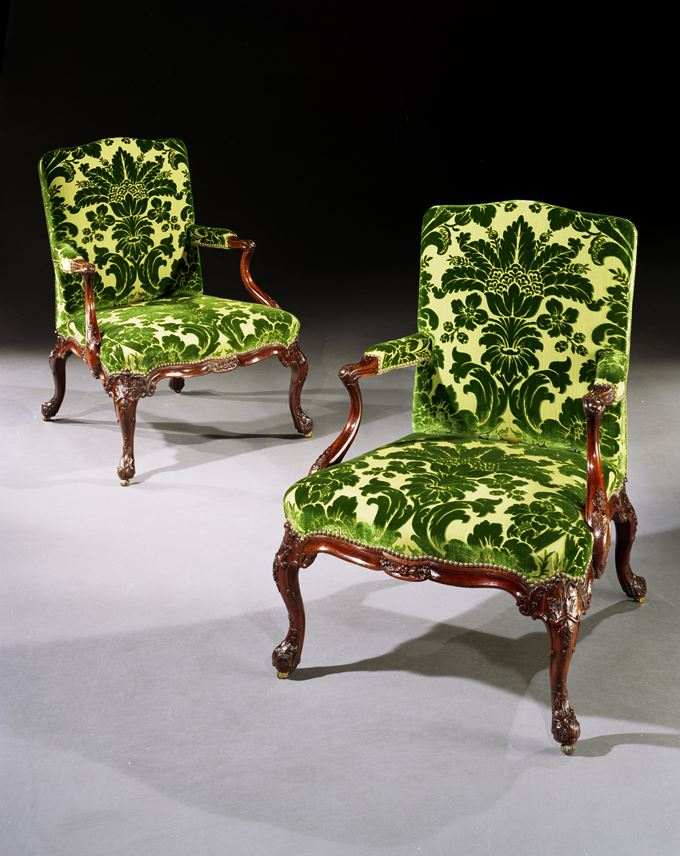 A PAIR OF GEORGE II MAHOGANY ARMCHAIRS  | MasterArt