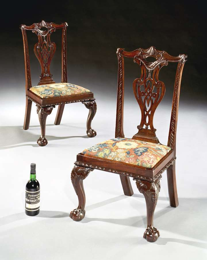 A PAIR OF GEORGE II MAHOGANY CHILD'S CHAIRS